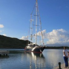 First yacht docking at Christophe Harbour Marina, St. Kitts Dec 9
